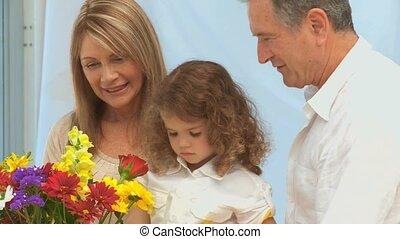 bloemen, gezin, makend, bos