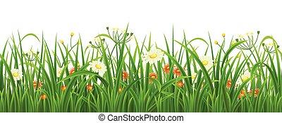 bloemen, gras, seamless