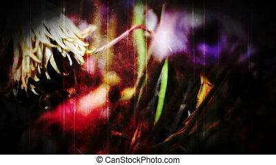 bloemen, hand, montage, twitching