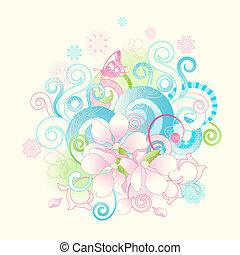bloemen, rollen, lente, abstract