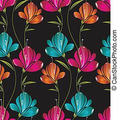 bloemen, seamless, behang