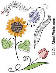 bloemen, set, handwork, abstract