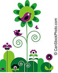 bloemen, vogels, vlinder, swirls, groene, paarse