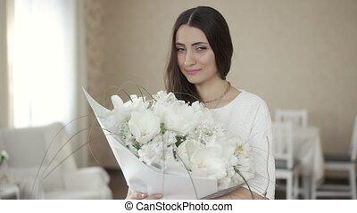 bloemen, vrouw, mooi, witte , thuis
