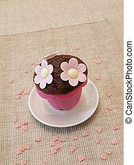 bloemen, zoet, muffin