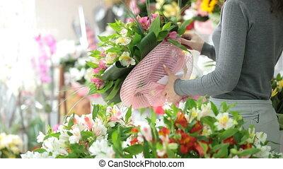 bloemist, winkel, klant, shoppen