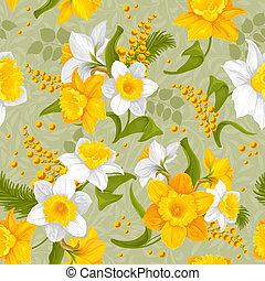 bloempatroon, -, seamless, daffodils, retro