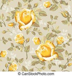 bloempatroon, -, seamless, rozen, retro