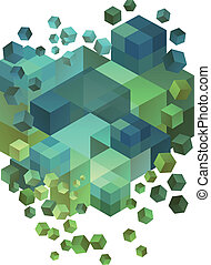 blokje, 3d, vector, abstract