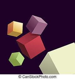 blokje, achtergrond, abstract, 3d, anders, kleuren