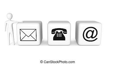 blokje, illustratie, contact, achtergrond, witte , 3d, us:, man
