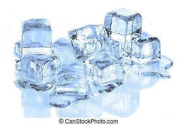 blokje, reflecterend, smeltende, oppervlakte, koel, ijs, witte