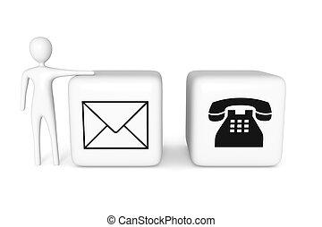 blokje, telefoon, illustratie, contact, post, witte , man, us:, 3d