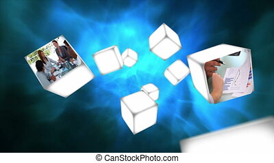 blokje, video, zwevend, zakelijk