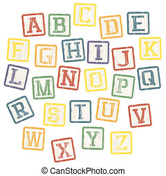 blokjes, alfabet, vector, eps8, collection., baby
