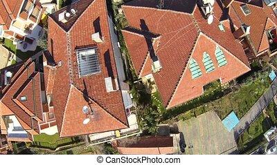 blokjes, istanboel, woongebied, voorstedelijk, vliegen, gemeenschap, laag, camera., buurt, luchtmening, uskudar, huisvesting