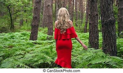 blonde, chic, aandoenlijk, back, jurkje, varen, mooi, fantastisch, atmosferisch, aanzicht, rood, elfje, meisje, forest., footage.