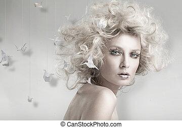 blonde , origam, aantrekkelijk, beauty