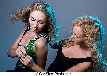 blondes, water, twee, fles