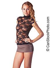 blouse, blonde , geklede, transparant, achtergrond, rok, vrijstaand, witte , vrouw, op, het glimlachen staand, schattig