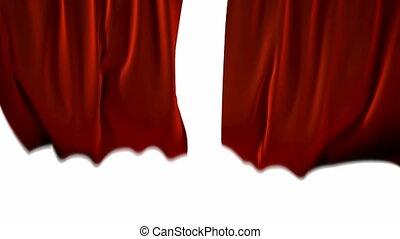 blown, rode gordijnen, wind