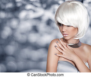 bob, mode, beauty, girl., hair., porto, hairstyle., blonde , kort, witte