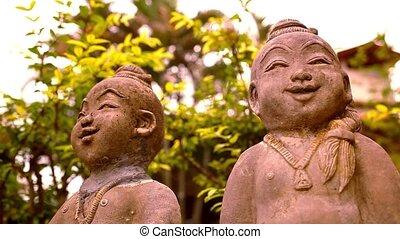 boeddha, motie, macro, gebeeldhouwd kunstwerk, shift, video, het glimlachen, thailand.
