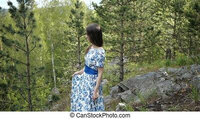 boeiend, brunette, bos, wandeling
