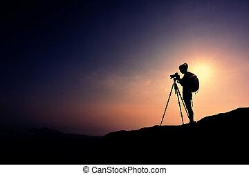 boeiend, vrouw, fotograaf, foto