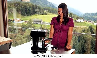 boeiend, vrouw, koffie, expresso