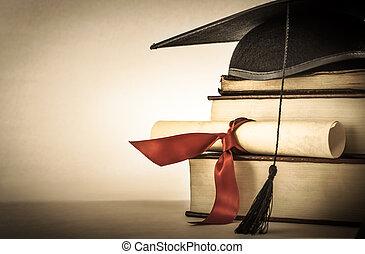 boek, boekrol, afgestudeerd, stapel