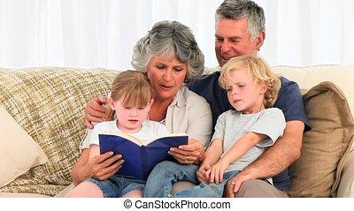 boek, grandsparents, lezende