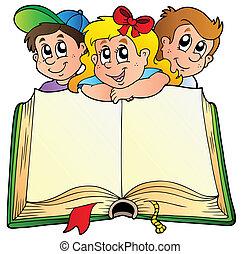boek, kinderen, geopend, drie