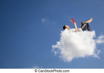 boek, lezende , wolk, verslappen