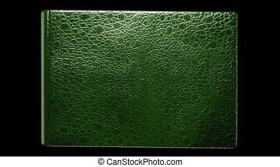 boek, oud, groene, leeg, het wegknippen
