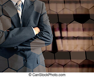boekenkast, zakenman, voorkant