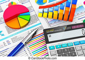 boekhouding, concept, financiën, zakelijk