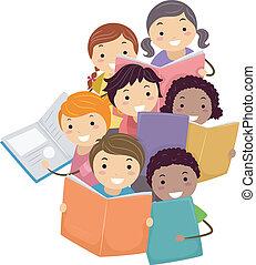 boekjes , geitjes, stickman, lezende , illustratie