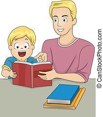 boekjes , lezende , vader, zoon