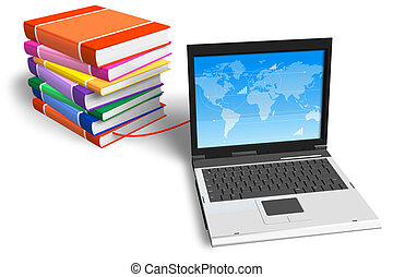 boekjes , samenhangend, draagbare computer, stapel