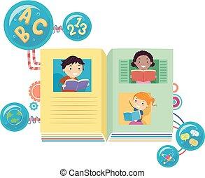 boekjes , stickman, lezende , illustratie, geitjes