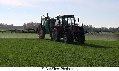 boer veld, verpulveren, tractor, oogst