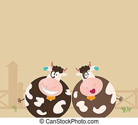boerderij, koien, animals:, twee, vrolijke