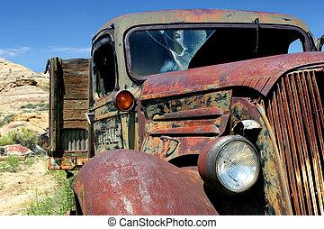boerderij, ouderwetse , vrachtwagen
