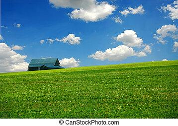 boerderij, schuur, akker