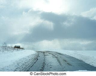 boerderij, winter, straat