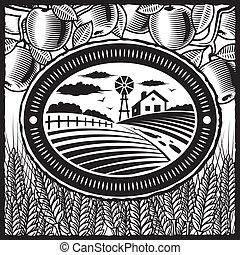 boerderij, witte , black , retro