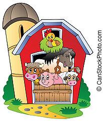 boerderijdieren, gevarieerd, schuur