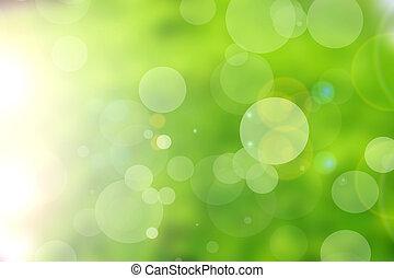 bokeh, groene samenvatting, achtergrond, natuur