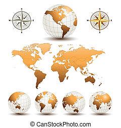 bollen, aarde, wereldkaart